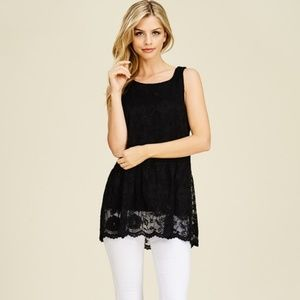 Tops - *Black and Lacey Sleeveless Top